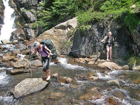Stream crossing on rocks