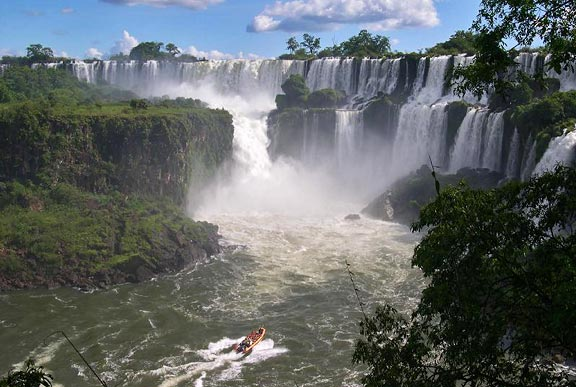 Boat below Iguassu Falls