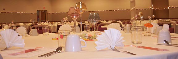 Banquet table with napkin fans