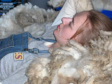 Amy Dake with fleece