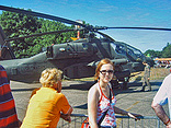Marloes with an Apache helicopter.