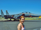 Marloes before an F18 fighter.